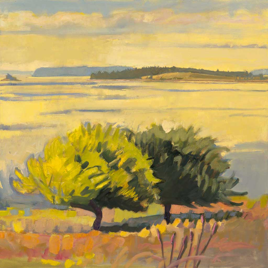"""The Two Trees, Morning<br />30 x 30""""<br />Oil on Canvas"""