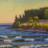 "Late Afternoon Light, Bakeman Beach<br />24 x 36""<br />Oil on Canvas"