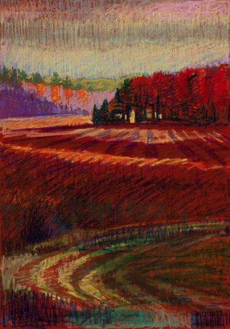 "Red Curve, Brooksville Marsh<br/>27 x 19""<br/>Oil Pastel on Prepared Paper"