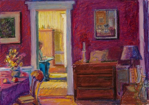 """Red Room to Yellow<br/>13x19""""<br/>Oil Pastel on Prepared Paper"""
