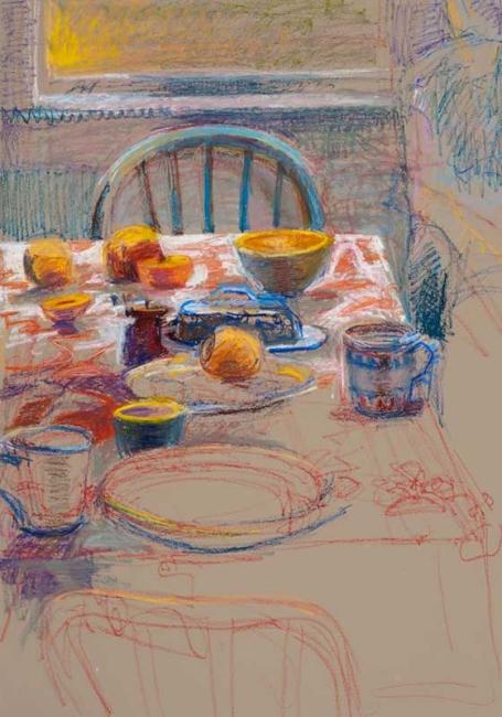 """Brita's Table<br/>27 x 19""""<br/>Oil Pastel on Prepared Paper<br/>Sold"""