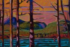 "Acadia Through Trees II<br/>13x19""<br/>Oil Pastel on Prepared Paper"