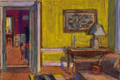 """Yellow Room to Kitchen<br/>13x19""""<br/>Oil Pastel on Prepared Paper"""