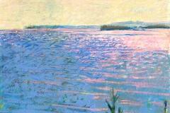 "Glint to Isle au Haut<br/>27 x 19""<br/>Oil Pastel on Prepared Paper"