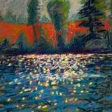 """September River Bank<br/>27 x 19""""<br/>Oil Pastel on Prepared Paper"""