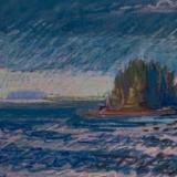 "Thrumbcap Blue Gray<br/>27 x 19""<br/>Oil Pastel on Prepared Paper"