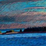 "Pond Island Below Sky<br/>27 x 19""<br/>Oil Pastel on Prepared Paper"