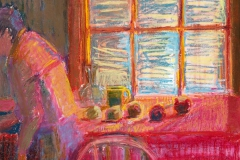 "Arranging<br/>19 x 14"" <br/>Oil Pastel on Prepared Paper"