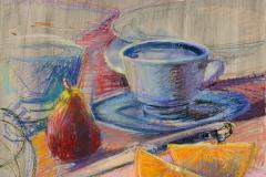 "Wedges<br/>27 x 19""<br/>Oil Pastel on Prepared Paper"