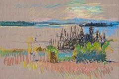 "Islesboro Field to Isle au Haut<br/>12x16""<br/>Oil Pastel on Prepared Paper"