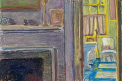"Bath Down the Hall II<br/>13x18""<br/>Oil Pastel on Prepared Paper"