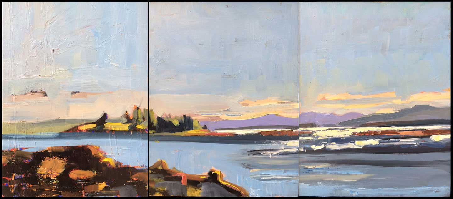 """Island Triptych<br />12 x 27"""" in 3 vertical panels<br />Oil on panel"""