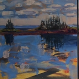"""As We Sit Here<br />14 x 33"""" in 3 panels<br />Oil on Panel"""