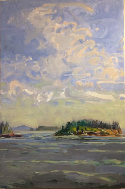 "Hurricane Island Sound<br />36 x 24""<br />Oil on Canvas"