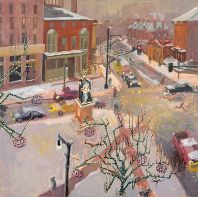 """Longfellow Square, February Snow<br />40 x 40""""<br /> Oil on Canvas"""