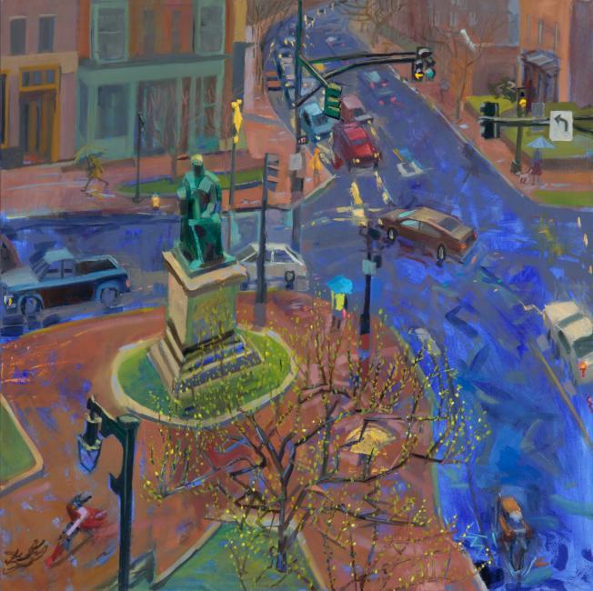 """Spring Rain<br />40 x 40""""<br />Oil on Canvas"""