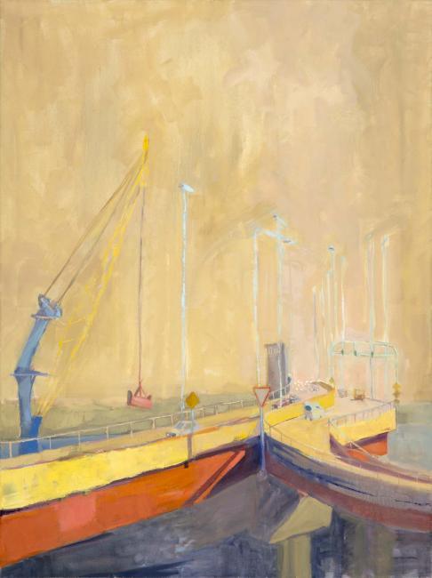 "The Bridge<br />40 x 30""<br /> Oil on Canvas"