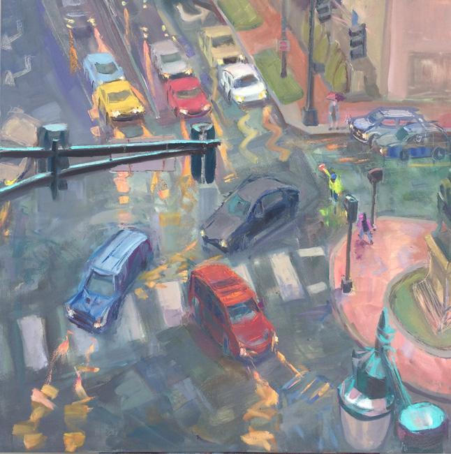 "Cross Guard<br />30 x 30""<br />Oil on Canvas"