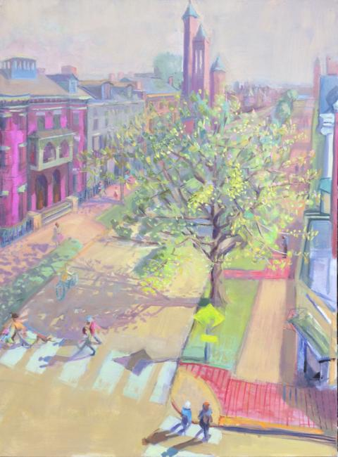 """State Street Spring<br />40 x 30""""<br />Oil on Canvas"""