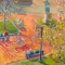 """Bicycling in the Square<br />36 x 48""""<br />Oil on Canvas"""
