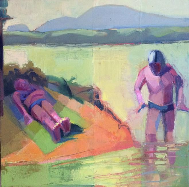"Bathers&Sleeper<br />12 x 12""<br />Oil on Canvas"