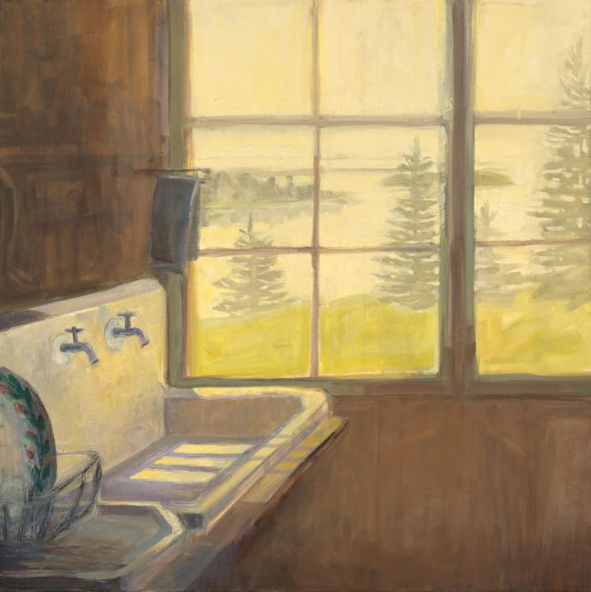 """Sink, Yellow Light <br /> 30 x 30"""" <br /> Oil on Canvas"""