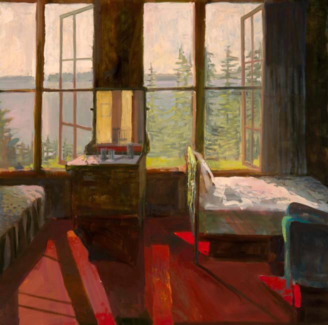 """Upstairs Room<br />40 x 40""""<br />Oil on panel"""