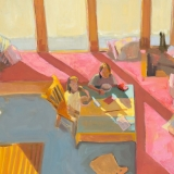 """Girls & Bowls, Island Home<br />40 x 30""""<br />Oil on Canvas"""