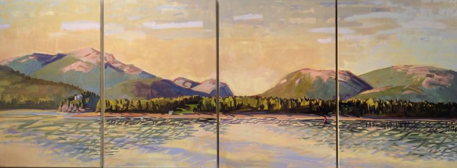 """Acadia Evening (Bear Island Light) <br/>36 x 96"""" in 4 vertical panels<br/>Oil on Canvas"""