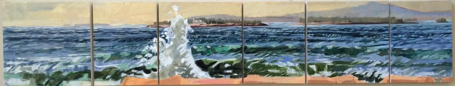 """Schoodic to Champlain (Mark Island Light)<br/>12 x 63"""" in 6 panels, square and vertical<br/>Oil on panel"""