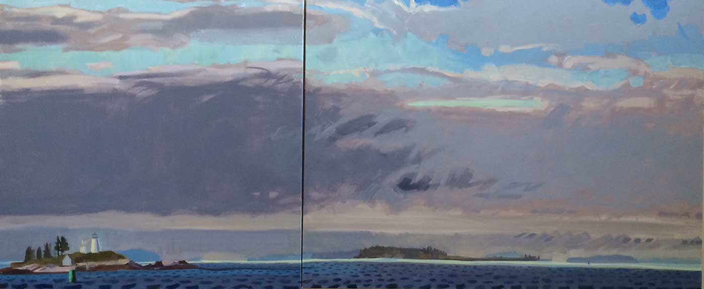 """Morning Clearing, Pumpkin Island<br/>30x70"""" in two panels<br/>Oil on Canvas"""