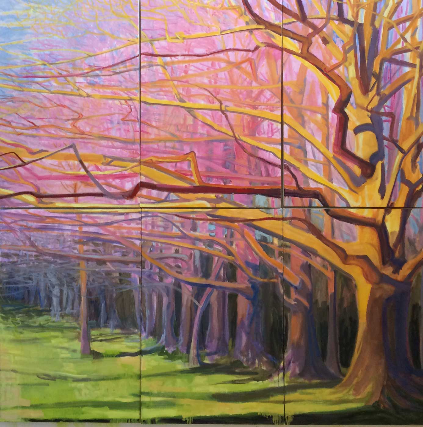 """Oaks Reach To Spring <br/>72 x 72"""" in six 36 x 24"""" Panels<br/>Oil on Canvas"""