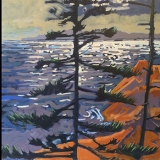 """Trees Hold Bay<br/>30 x 120"""" in 4 square panels<br/>Oil on Canvas"""