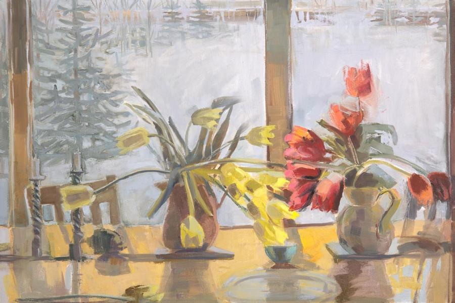 """Tulips Touch<br />24 x 36""""<br />Oil on Canvas"""