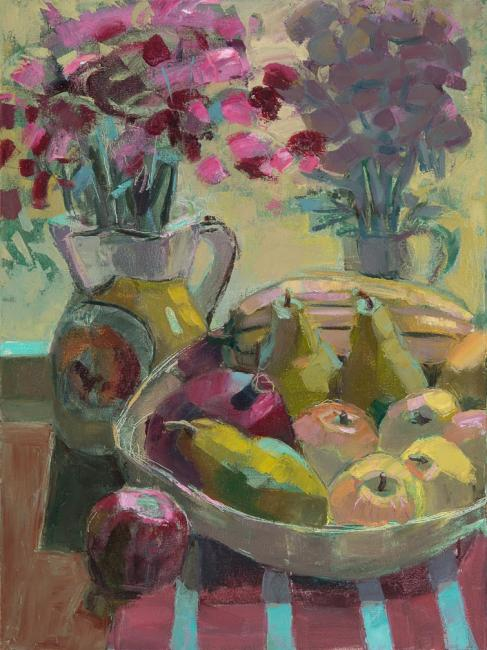 """Fall Mums and Fruit<br />24 x 18""""<br />Oil on Canvas"""