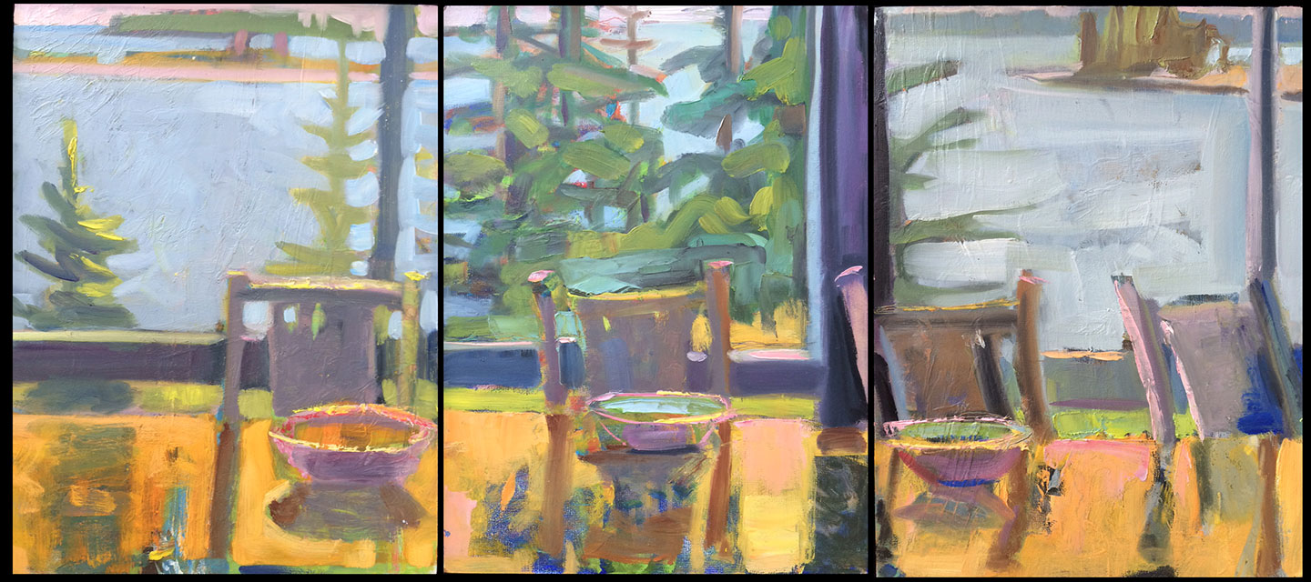 """Porch Triptych<br />12 x 27"""" in 3 vertical panels<br />Oil on Panel"""