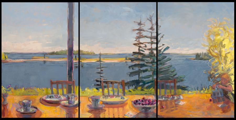 "Fling, Fate, Faith Triptych<br />36 x 72""<br />Oil on Canvas<br />"