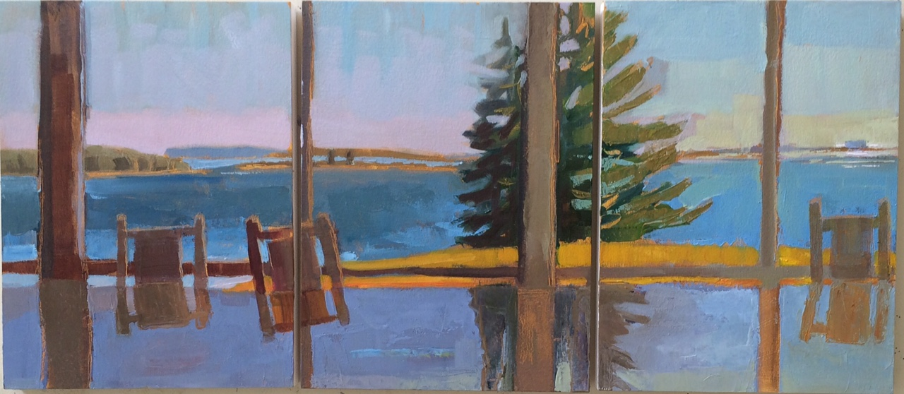 """Table Reflects<br />12x27"""" in 3 Panels<br />Oil on Panel"""